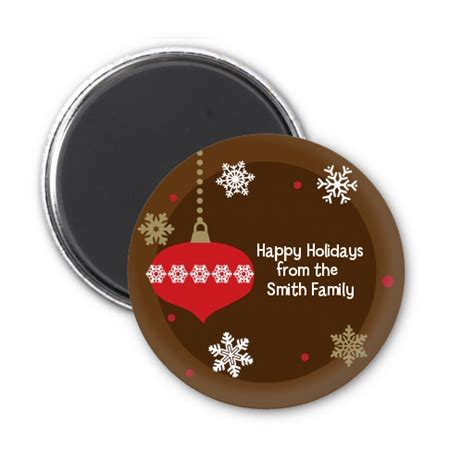 retro ornaments personalized christmas magnet favors