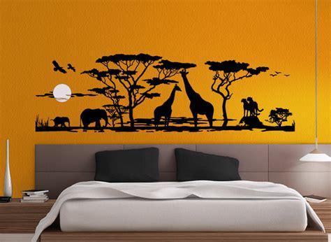 wandtattoo wohnzimmer wandtattoo afrika landschaft savanne elefanten giraffen