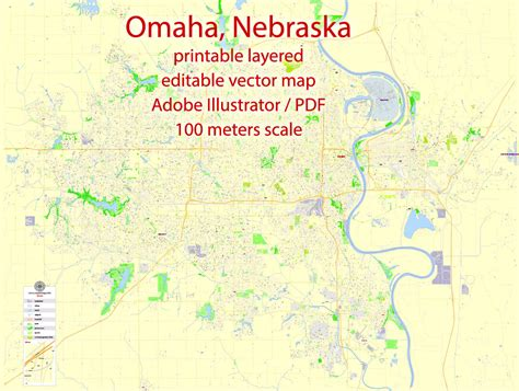omaha nebraska usa map omaha printable map nebraska us exact vector map