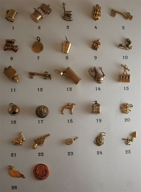 Charm Gold vintage and antique interesting 9ct gold charms for