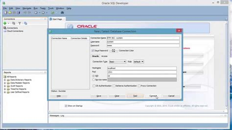 Oracle Sql Developer create new connection with new user in oracle sql
