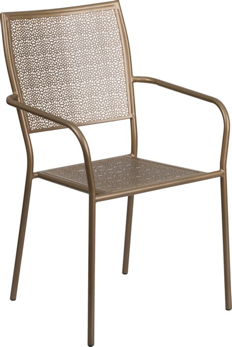 steel patio chair gold indoor outdoor steel patio arm chair with square back