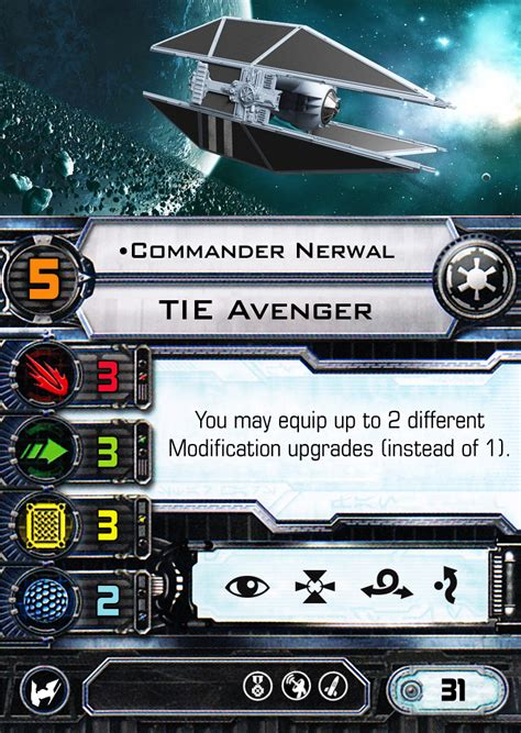 X Wing Card Template by X Wing Miniatures Custom Ship Tie Avenger By