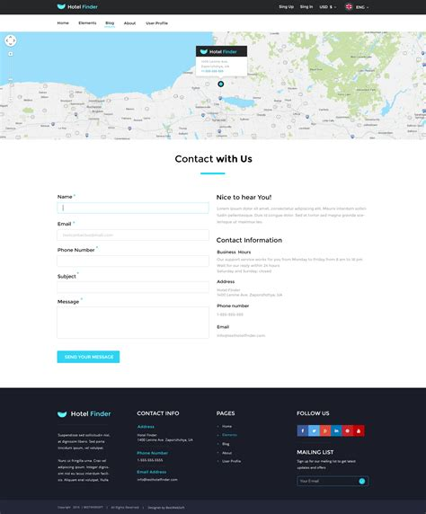 Hotel Finder Online Booking Html Website Template By Bestwebsoft Contact Us Page Template Html