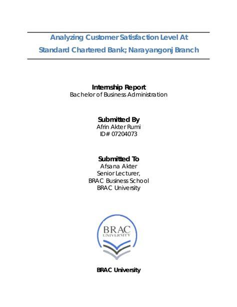 Standard Chartered Bank Letterhead Format analyzing customer satisfaction level at standard