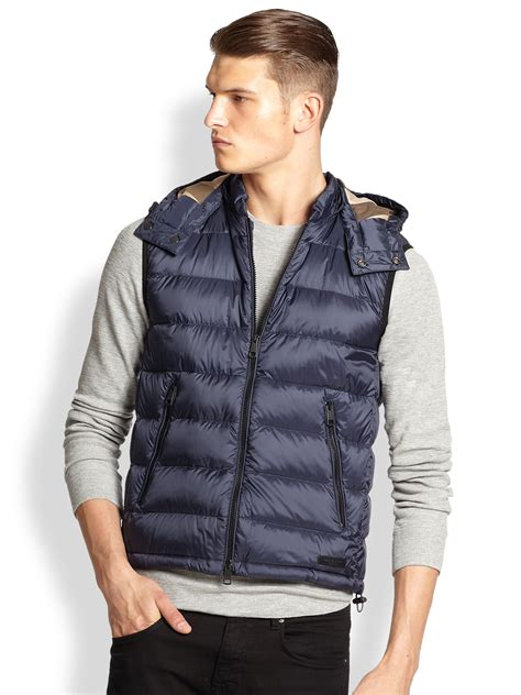 lyst burberry brit hooded puffer vest  blue  men