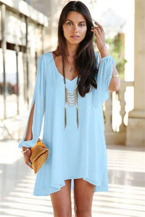 light blue  neck chiffon shift dress   long