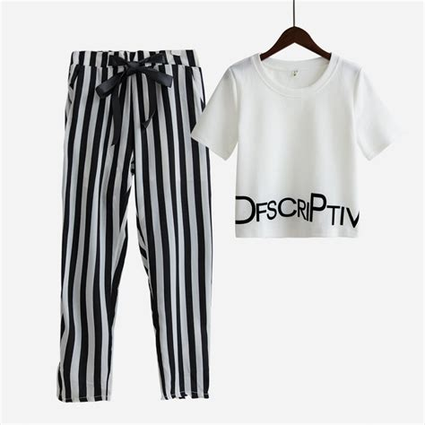 set striped shirt cropped womens set summer white letter printed t shirt
