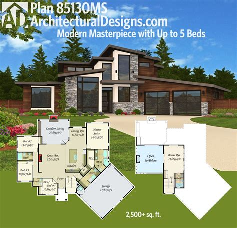 home design concept lyon 9 plan 85130ms modern masterpiece with up to 5 beds