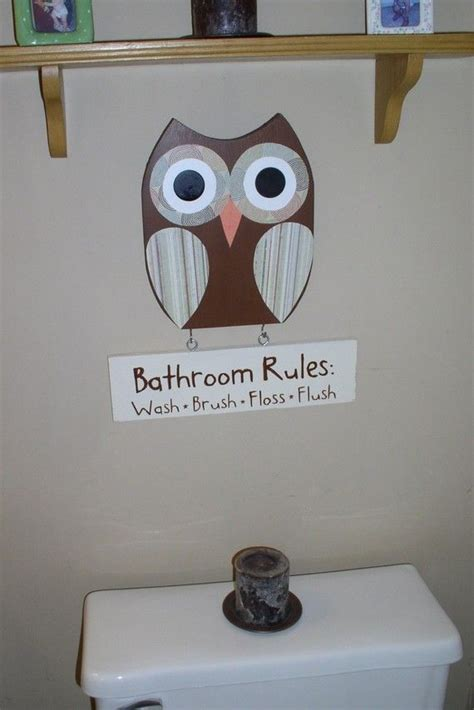 kids owl bathroom decor owl bathroom decor bathroom rules sign wooden owl decor