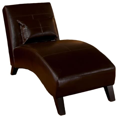 Brown Leather Chaise Lounge Chair Brisbane Curved Lounge Chair In Brown Leather Transitional Indoor Chaise Lounge Chairs By