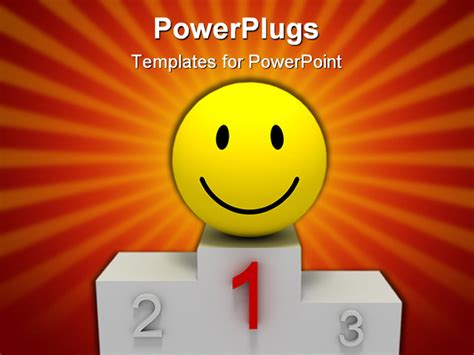 templates powerpoint smile yellow smile on winner pedestal isolated image powerpoint