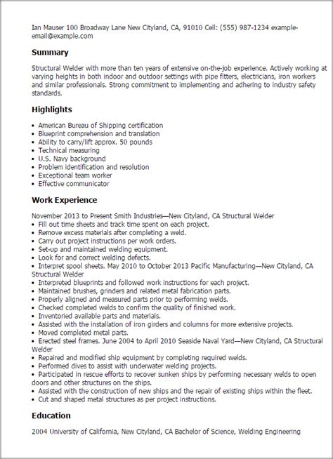 resume format for welder structural welder resume template best design tips