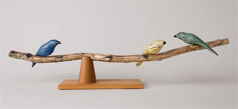 And Bird Sculptures by Birds On Branch By Paul Sumner Wood Sculpture Artful Home