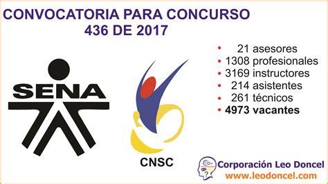 convocatoria para servicio de convocatoria concurso 436 de 2017 servicio nacional de