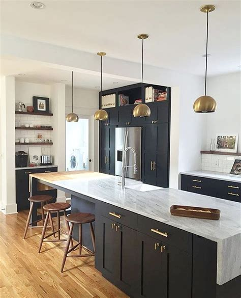 Black Kitchen Cabinets Pinterest Kellen Brass Lighting Matte Cabinets Marble Waterfall Counters N O N W H I T E K