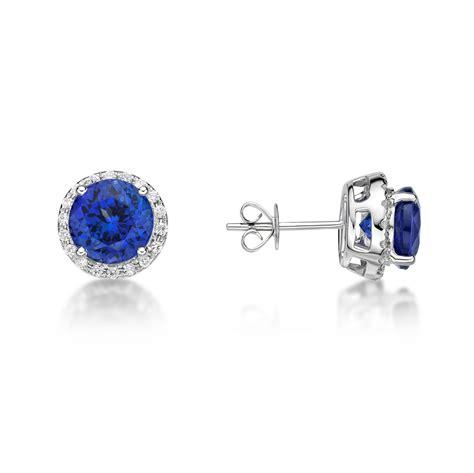 4.00 ct Premium Tanzanite & Diamond Halo Stud Earrings 14 K : Richland Gemstones