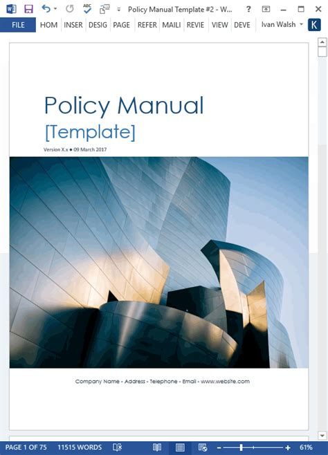 manual cover template policy manual templates ms word excel