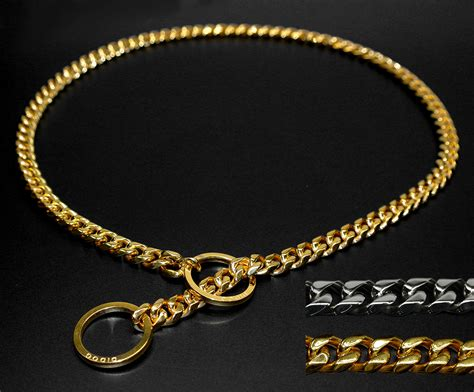 gold chain collar strong silver gold stainless steel slip collar metal dogs choke chain
