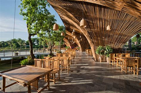 Low Cost Restaurant Interior Design by Bamboo Roc Von Restaurant By Vo Trong Nghia Architects