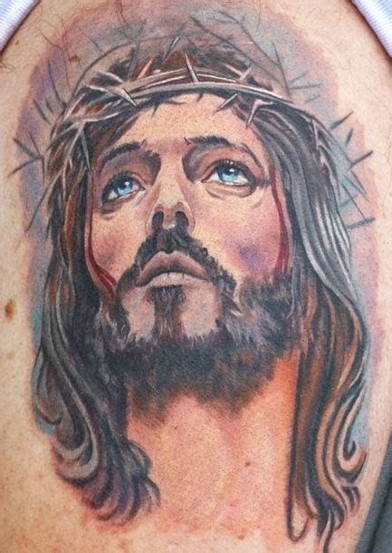 tattoo designs jesus face watercolor jesus on shoulder by todo brennan