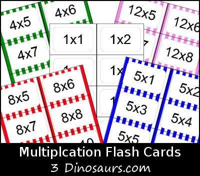 multiplication flash cards free printable