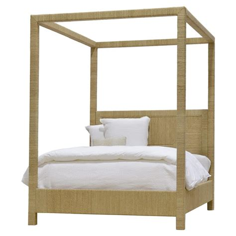 queen canopy bed alethea coastal beach natural seagrass rope canopy bed