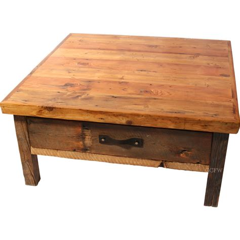 Rustic Square Coffee Table Black Mountain Reclaimed Rustic Square Coffee Table Nc