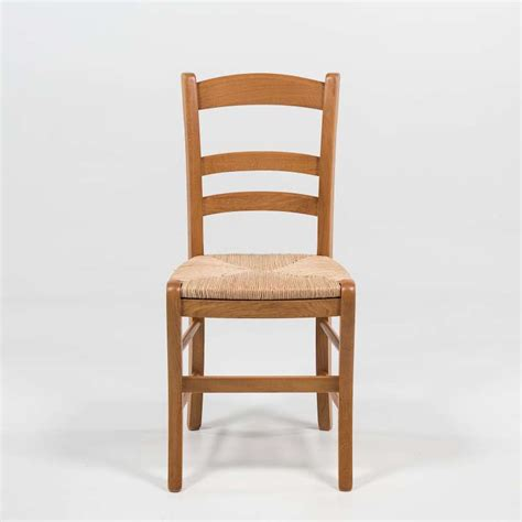 chaise rustique en ch 234 ne et paille de seigle 370 4