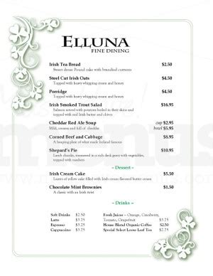 eirinn irish menu template template archive