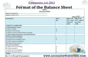 Balance Sheet Profit And Loss Account Format by Balance Sheet Profit And Loss Account Companies Act