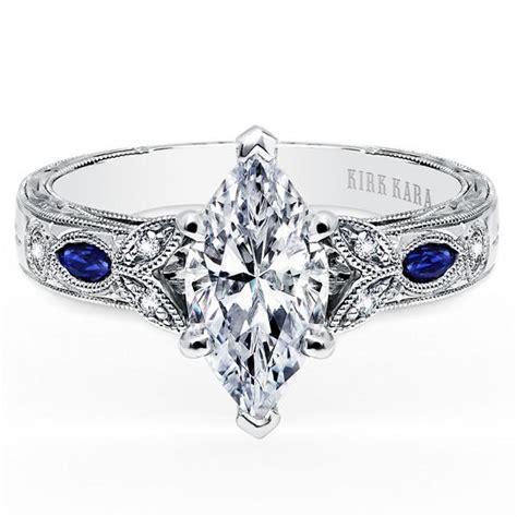 """Kirk Kara """"Dahlia"""" Marquise Cut Blue Sapphire Diamond"""