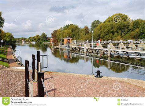 thames lock reading weir and lock on the river thames royalty free stock