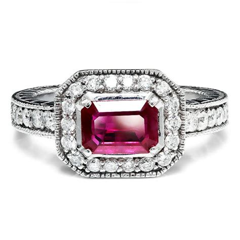 Ruby Engagement Rings by Sideways Set Ruby Halo Style Engagement Ring 14k