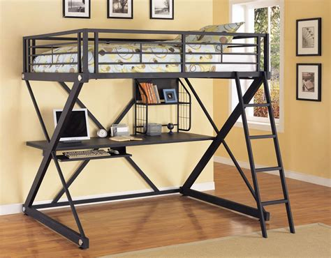 full size loft beds powell z bedroom full size study loft bunk bed in brushed chrome beyond stores