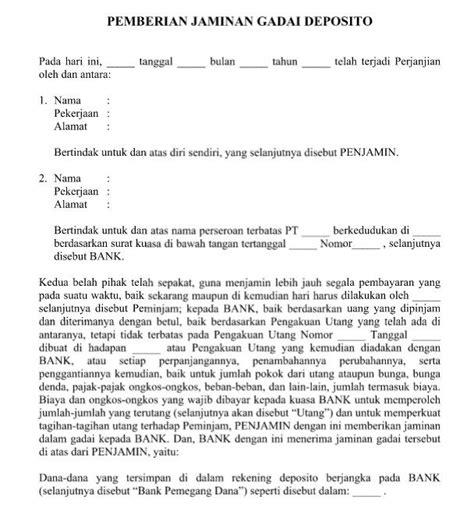 contoh surat perjanjian pemberian jaminan gadai deposito
