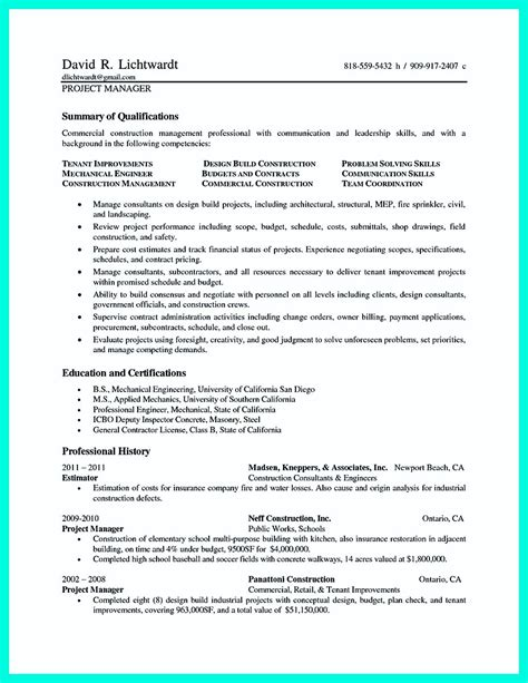 construction project manager resume exles cool construction project manager resume to get applied