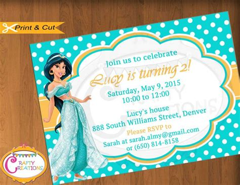 printable jasmine invitations princess jasmine invitation for birthday party aladdin