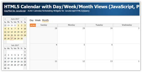 tutorial javascript php html5 calendar with day week month views javascript php