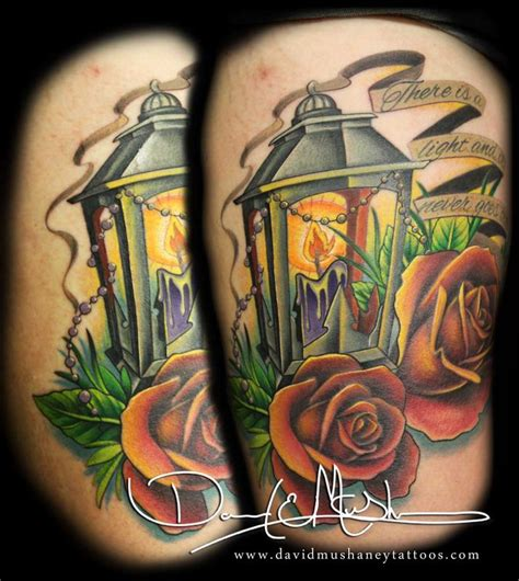 small lantern tattoo lantern and roses by david mushaney tattoos