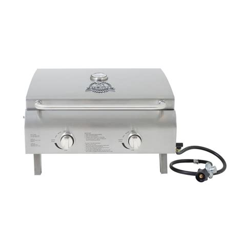 pit boss two burner stainless steel portable lp gas grill