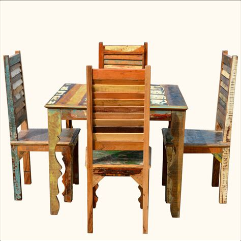 5 pc rustic reclaimed square dining table and chairs wood