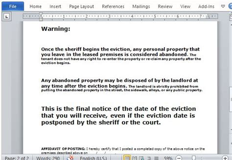 Eviction Notice Form For Word Eviction Warning Notice Template