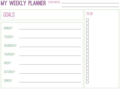 printable planning paper free weekly planner printable