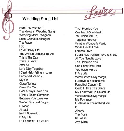Wedding Song List by Wedding Song List Louise Lambert