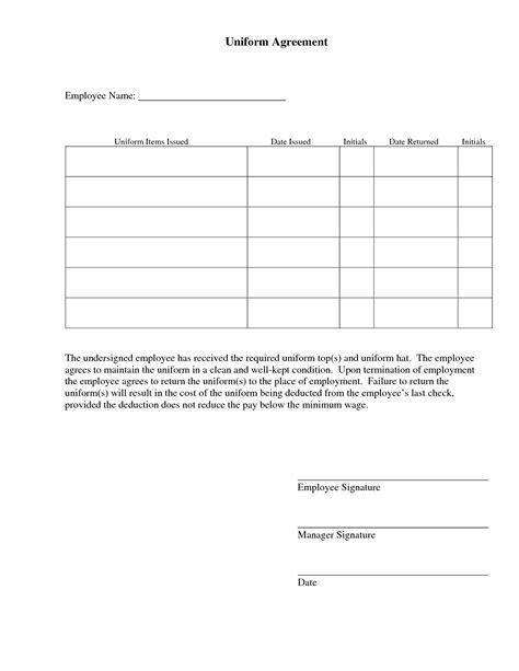 50 Special Uniform Employee Agreement Uo G111611 Edujunction Key Agreement Template