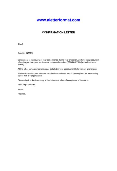 template of confirmation letter best photos of confirmation of employment letter sle
