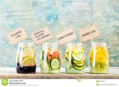Detox Water In Jars by Variety Of Fruit Infused Detox Water In Jars Stock Image