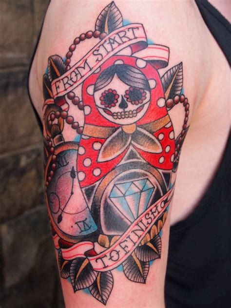 leeds united tattoo sleeve 102 best matryoshka sugar skull tattoo images on pinterest