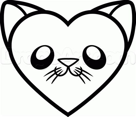 Drawing Hearts by How To Draw A Cat Step By Step Pets Animals Free